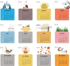 2018 Calendar with Symbols for each Season Vector EPS
