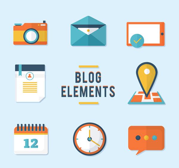 Blog element icons Vector AI