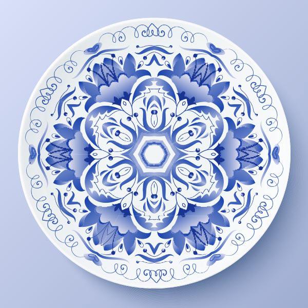 Blue flower disc Vector EPS