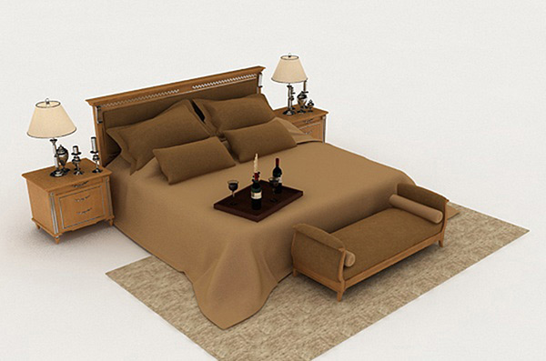 Brown Double Bed 3D Models