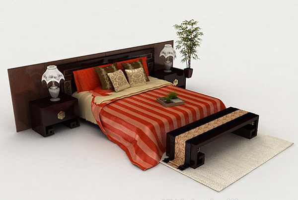 Chinese-Style Bed 3D Model