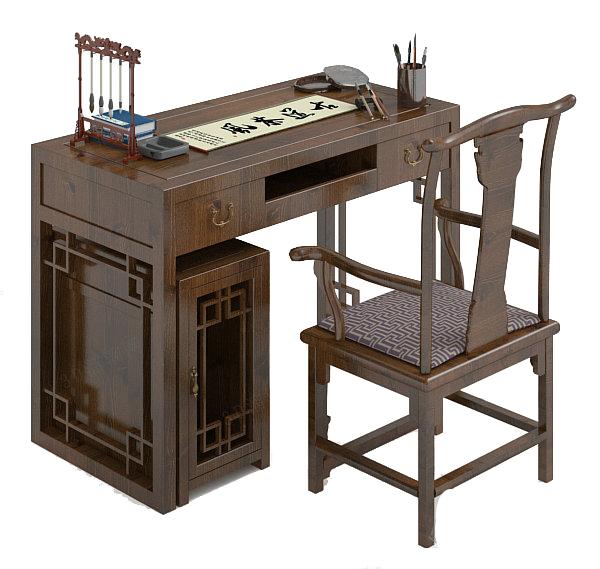Desk Chair Combination 3D Model