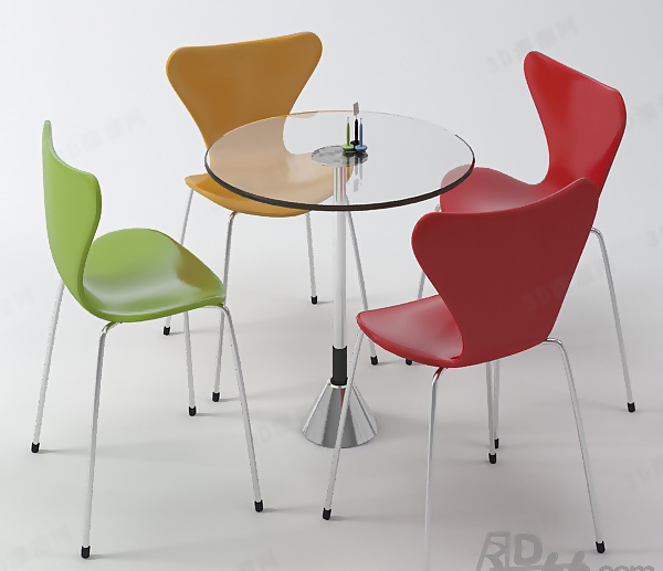 Negotiation Table And Chair Combination 3D Model