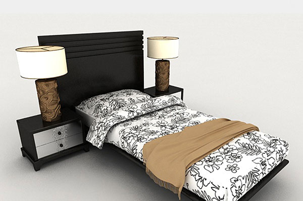 New Chinese Single Bed 3D Models