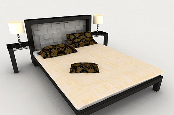 New Chinese-Style Double Bed 3D Models