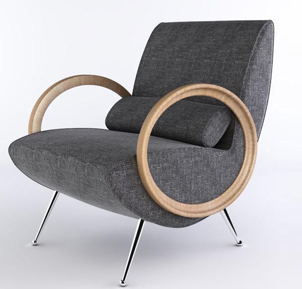 Single Sofa Seat 3D Model 02