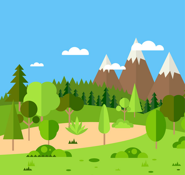 Snow Mountain and forest scenery Vector AI