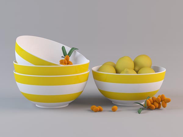 Striped Fruit Bowl 3D Model