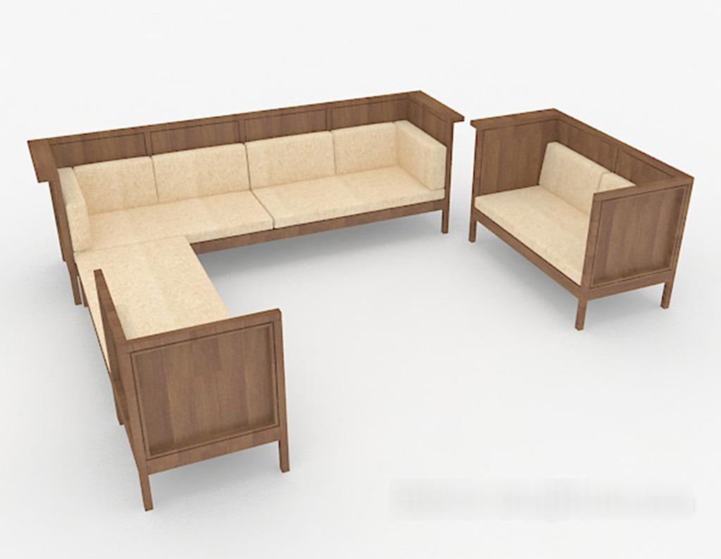 Wooden Sofa 3D Model