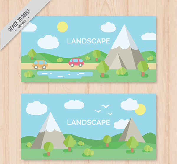 Countryside landscape banner vector AI 01