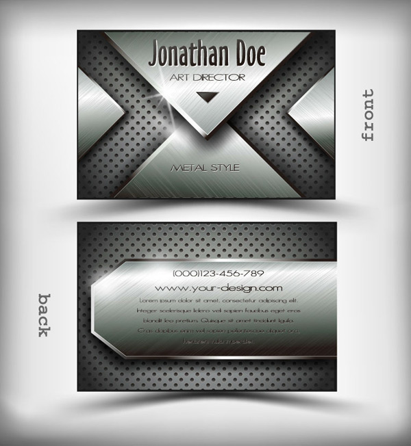 Fashion metal business cards vector EPS