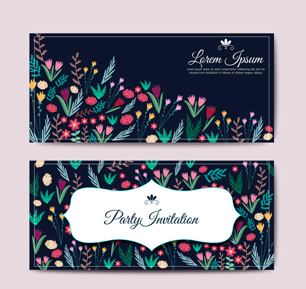 Floral party invitations cards vector AI