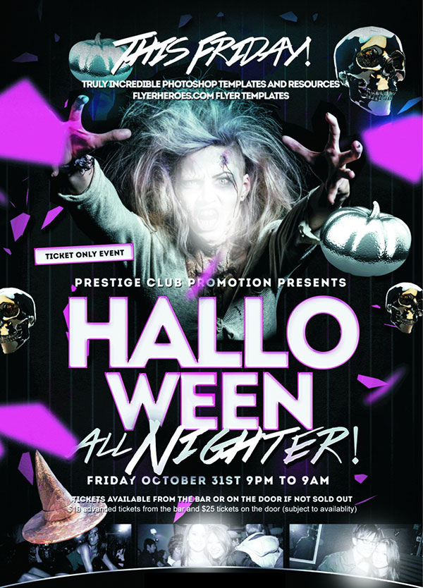 Halloween night PSD poster