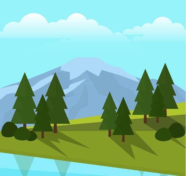 Hillside trees landscape vector AI