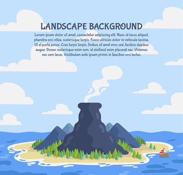 Islands of volcanic landscape vector AI