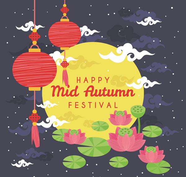 Mid-Autumn Moon greeting cards Vector AI