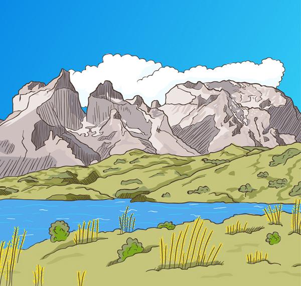 Mountain and river views vector AI