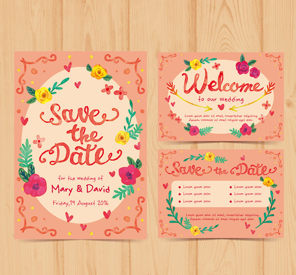 Painted Wedding Invitation Cards Vector Ai For Free Download