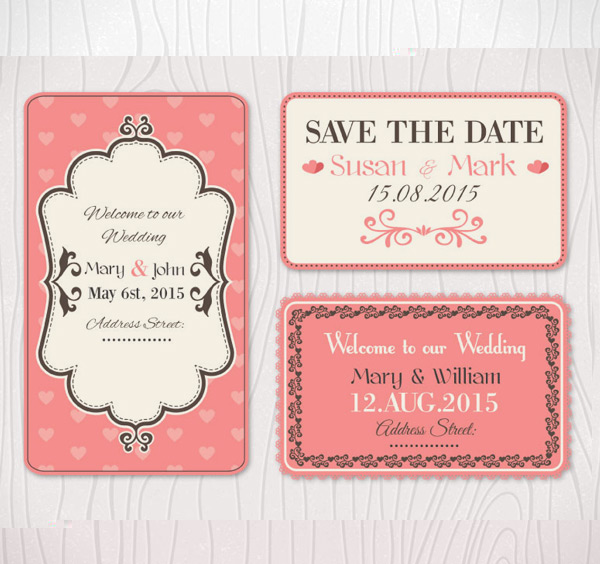 Pink wedding cards Vector AI