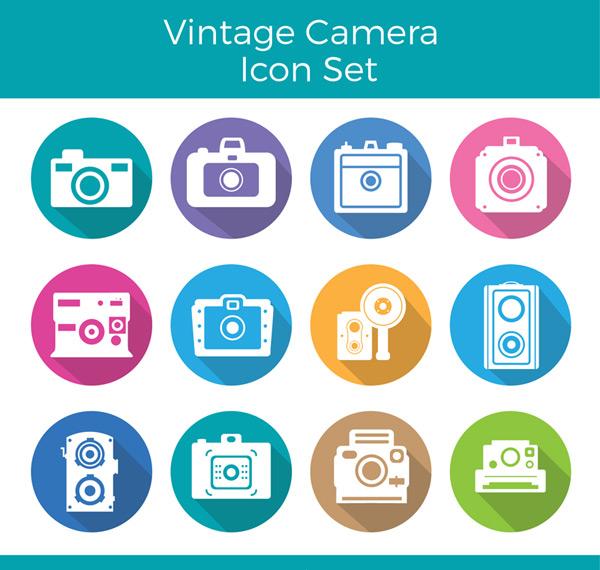 Retro camera icon Vector AI