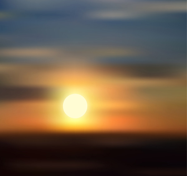 Sunset on the horizon view vector AI