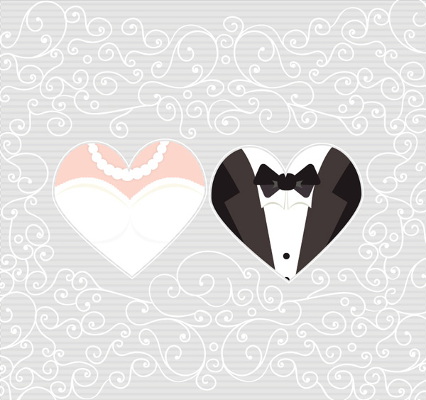 The bride and groom pattern background Vector AI
