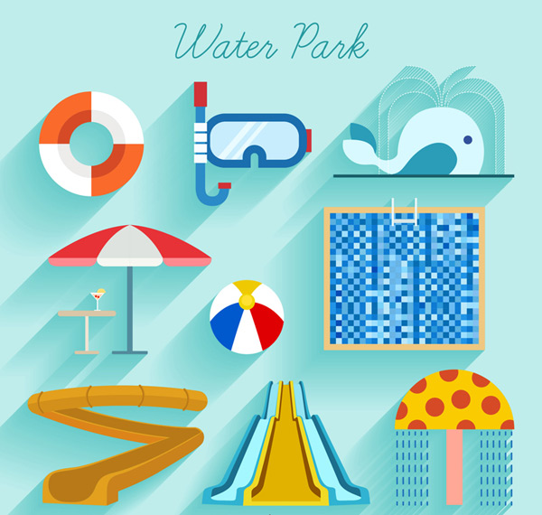 Water Park icons Vector AI