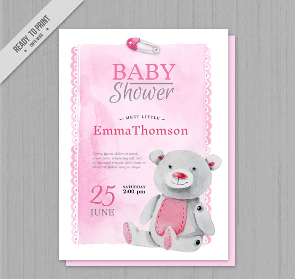 Welcome baby party invitation cards Vector AI 01
