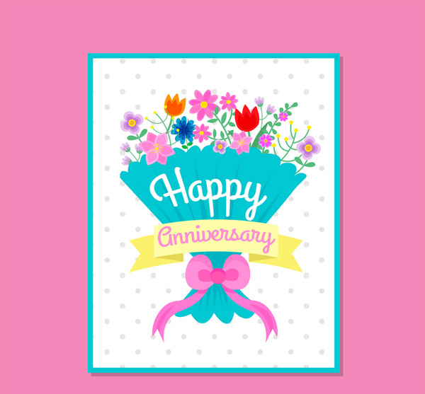 Bouquet Anniversary Greeting Card Vector AI