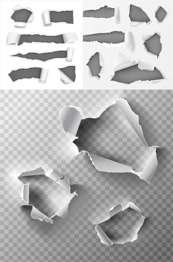 Broken hole paper and tear paper Vector AI