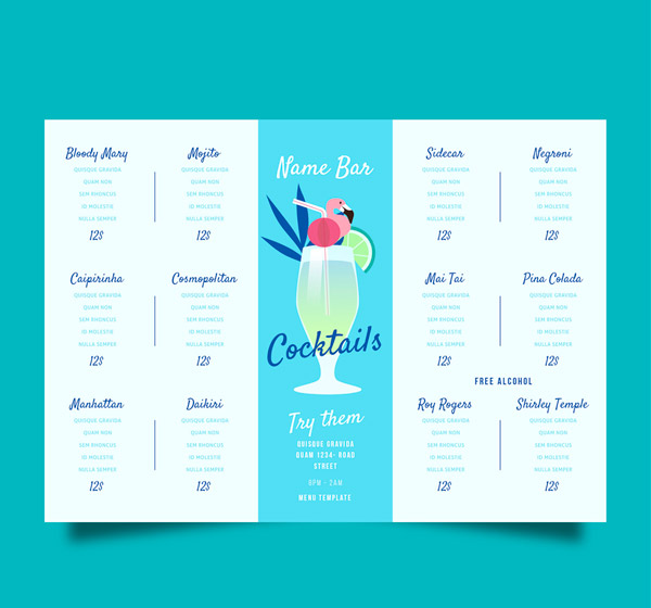 Cocktail wine List Vector AI 01
