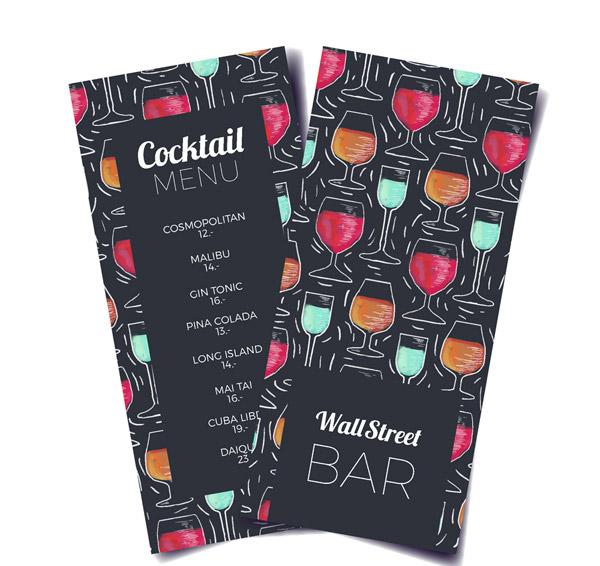 Cocktail wine List Vector AI