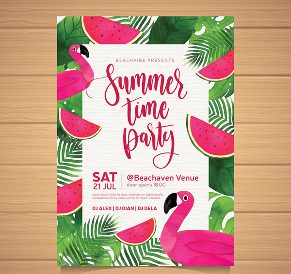 Flamingo Summer Party Flyer Vector AI