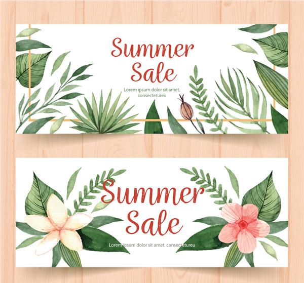 Flower Sales Banner Vector AI
