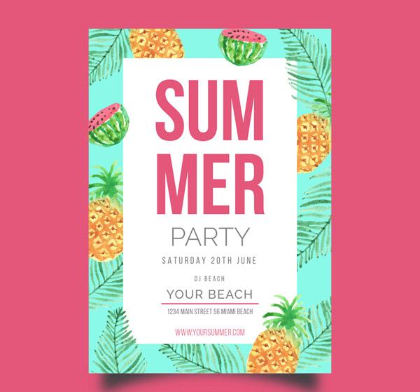 Fruit Summer Party Flyer Vector AI