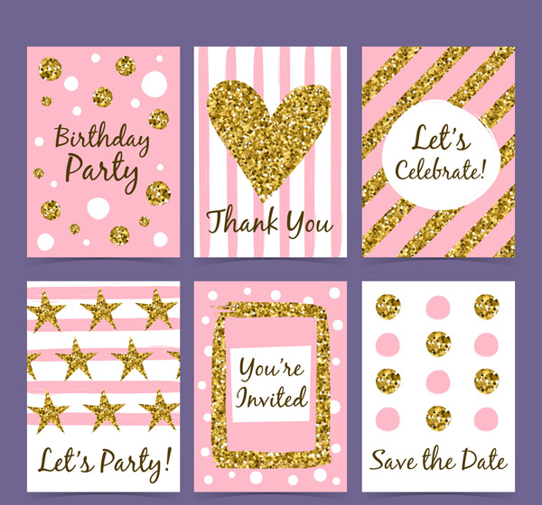 Gold Sequins Decorative Cards Vector AI
