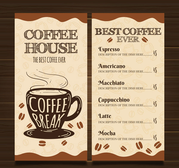 Hand-Painted Cafe menu Vector AI