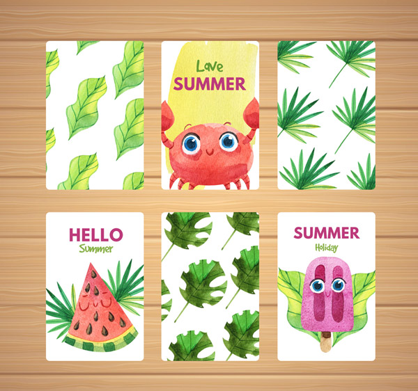 Painted Summer Cards Vector AI
