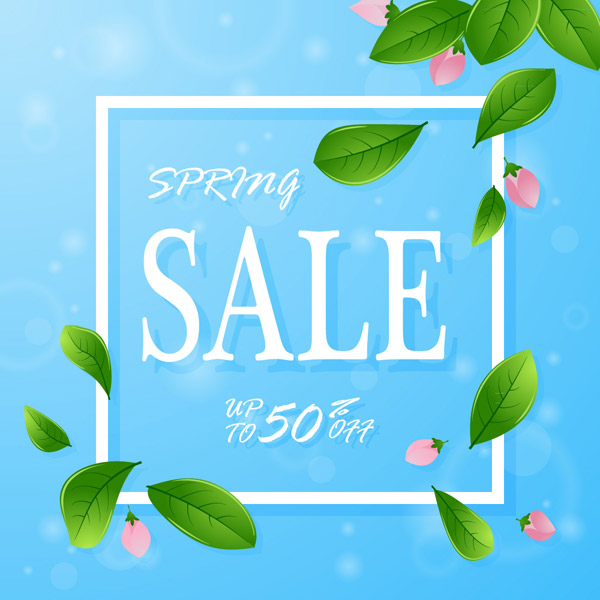 Spring Half Price promotional poster Vector AI
