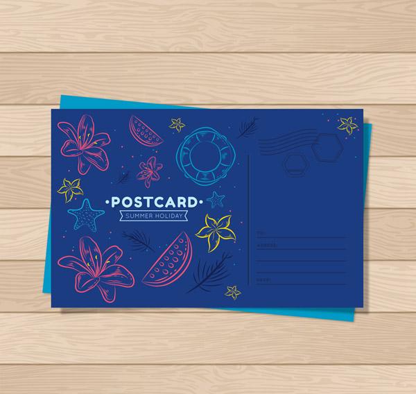 Summer Element Postcard Vector AI