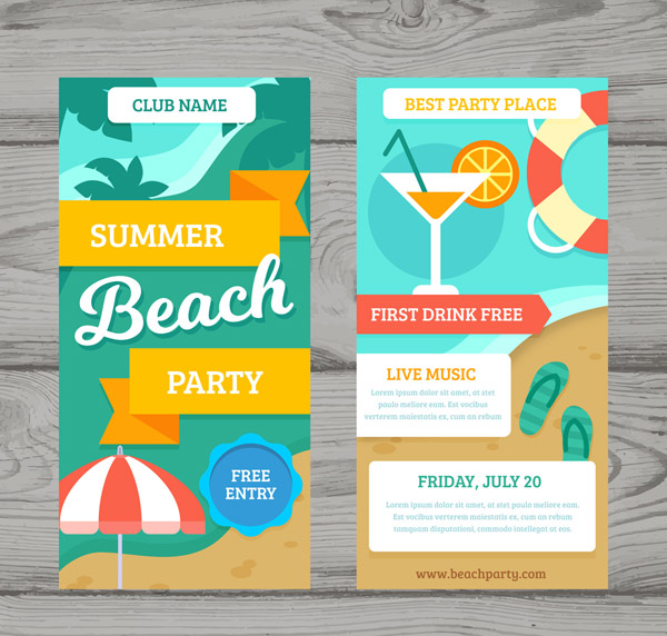 Summer Party Banner Vector AI