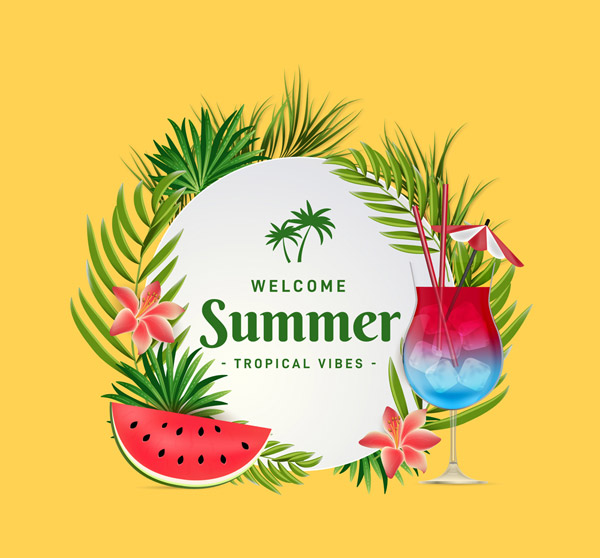 Summer Tropical flowers and plants Vector AI
