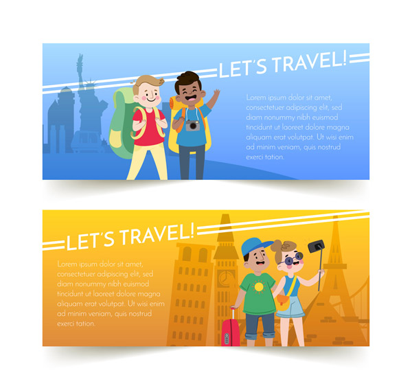 Travel character Banner Vector AI