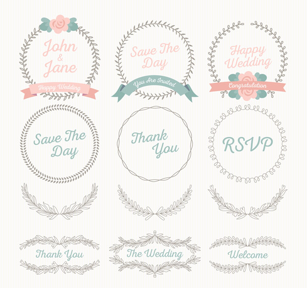 Wedding Patterns and Labels Vector AI
