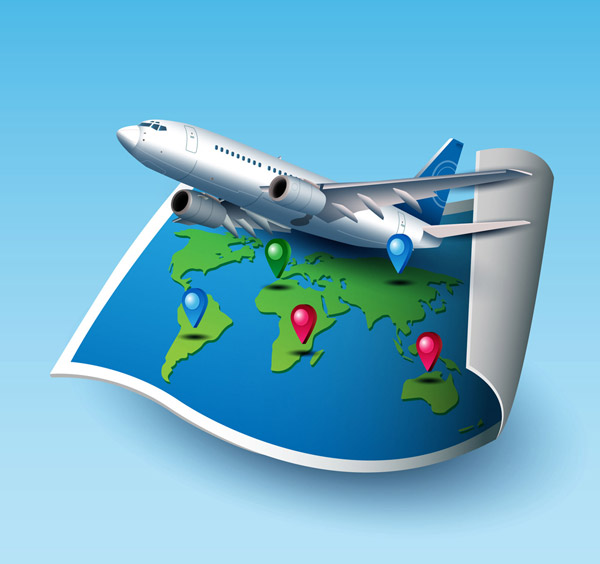 World Maps and airplanes Vector AI