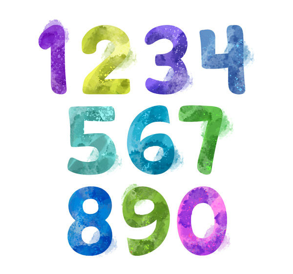 10 Water Painted numbers Vector AI