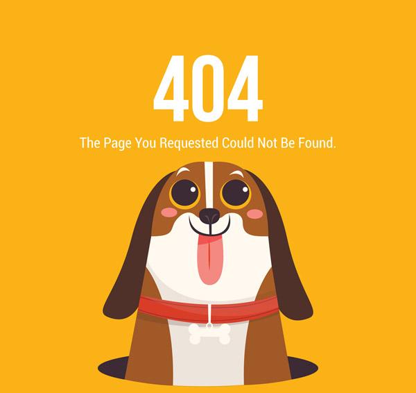 Biggar Dog 404 Error page Vector AI
