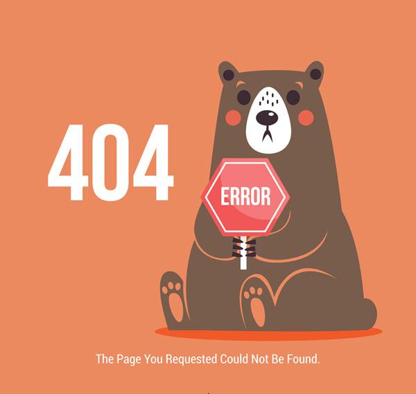 Brown Bear 404 Error page Vector AI
