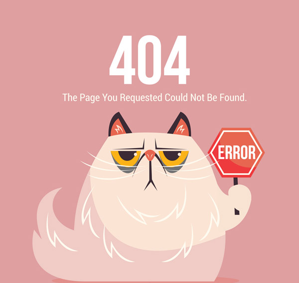 Cat 404 Error page Vector AI