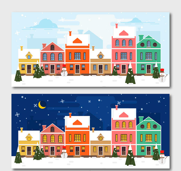 Christmas Town Day and night Vector AI
